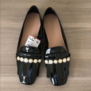 NWT Zara Faux Patent Leather Pearl Penny Loafers